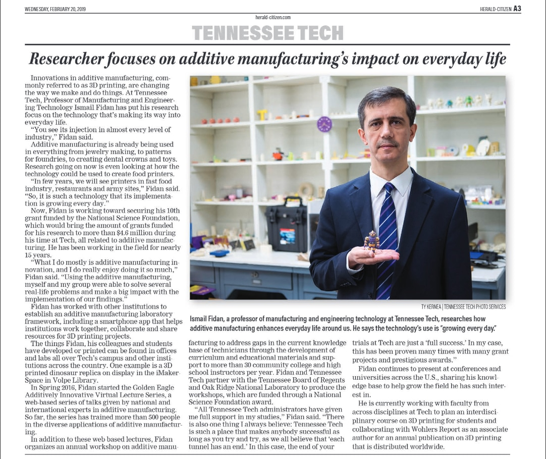 Dr. Ismail Fidan profiled in Cookeville Herald-Citizen