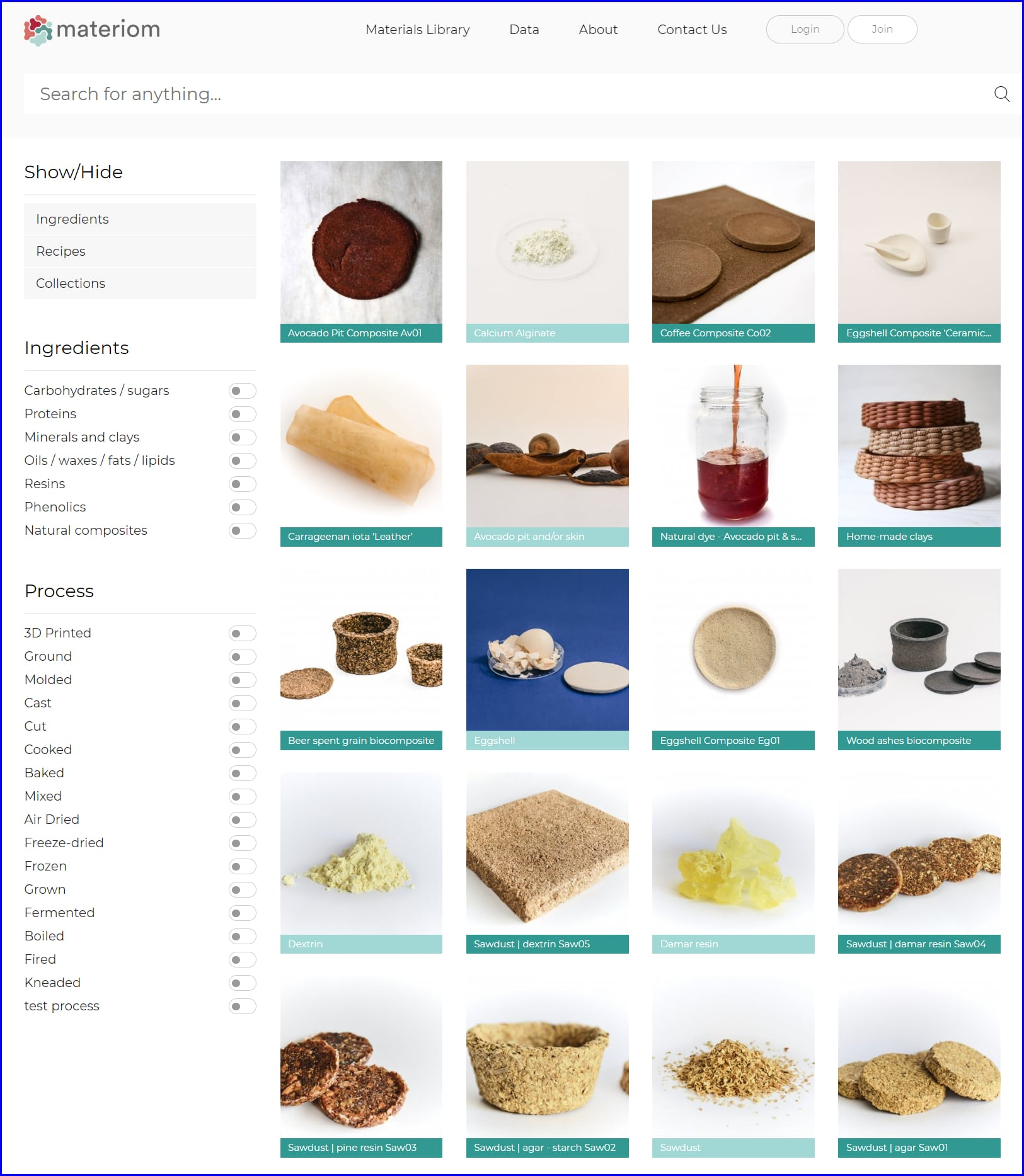 Materiom Materials Library Search Tool